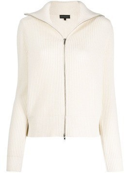 Cashmere In Love ribbed roll-neck Isla cardigan - White