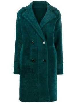 Pinko double-breasted faux-fur coat - Green