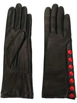 Agnelle gloves with contrast poppers - Black
