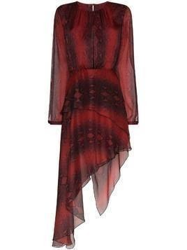 Amiri asymmetric snake-print dress - Red