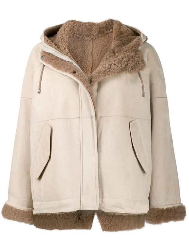Brunello Cucinelli hooded shearling jacket - NEUTRALS