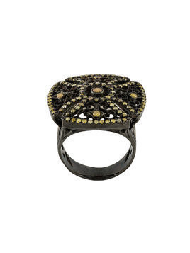 Loree Rodkin 18kt black gold and diamond square ring
