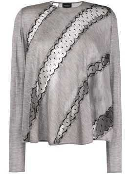 Giambattista Valli diagonal lace sweatshirt - Grey