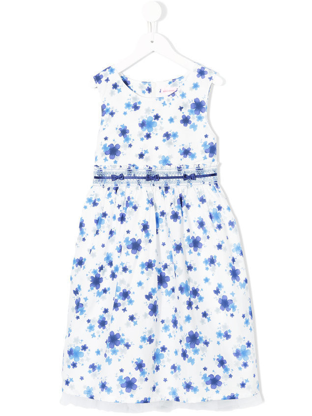Miki House floral print dress - White
