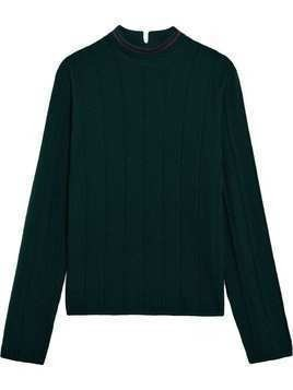 Mackintosh 0003 Green & Burgundy Cotton Blend 0003 V-Neck Sweater