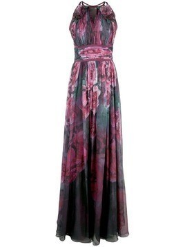 Marchesa Notte floral printed chiffon gown - Purple
