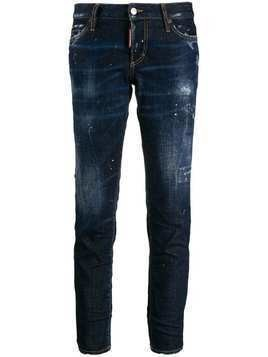 Dsquared2 cropped paint splattered jeans - Blue
