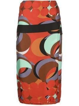Alexis red eclipse wrap skirt - Multicolour