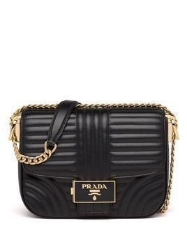 Prada stitched leather shoulder bag - Black