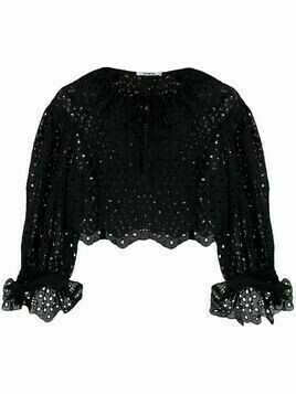 Vivetta cropped embroidered blouse - Black