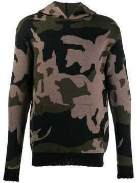 John Richmond camouflage knitted hoodie - Green