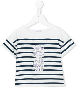 Dolce & Gabbana Kids sequinned pineapple T-shirt - White