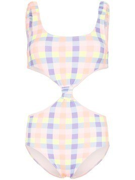 Paper London Barbuda cut-out gingham swimsuit - Orange