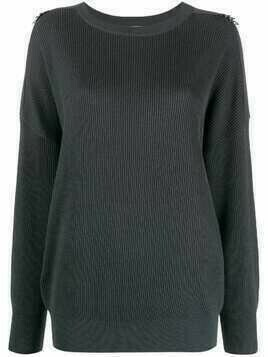 Brunello Cucinelli D-ring shoulder knit jumper - Grey
