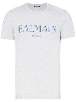 Balmain short-sleeve cotton logo T-shirt - Grey