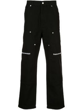 This Is Never That logo embroidered straight leg trousers - Black