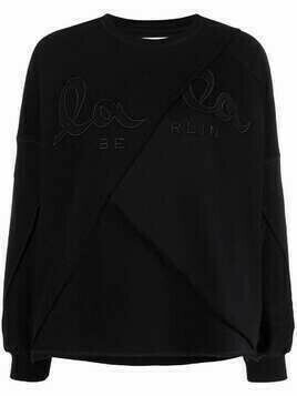 Lala Berlin logo-embroidered deconstructed sweatshirt - Black