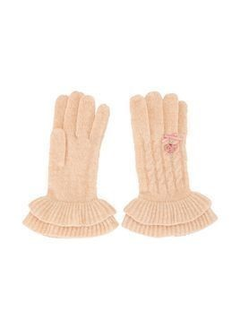 Familiar embroidered detail flared cuff gloves - PINK