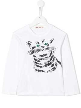 Marni Kids cat print T-shirt - White