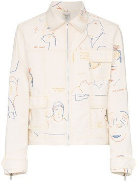 Bethany Williams Portraits Print denim jacket - Neutrals