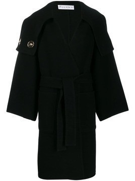 JW Anderson oversized collar wrap coat - Black