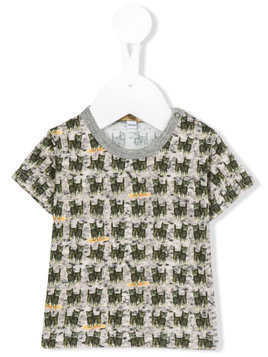 Gold Belgium cat print T-shirt - Green