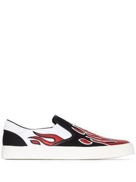 Amiri flame appliqué slip-on sneakers - Black