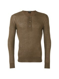 Tom Ford superfine long sleeved henley - Brown
