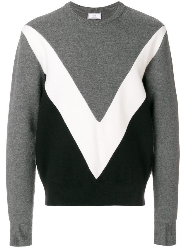 Ami Alexandre Mattiussi Tricolor Crew Neck Sweater With Contrasted Bands - Grey