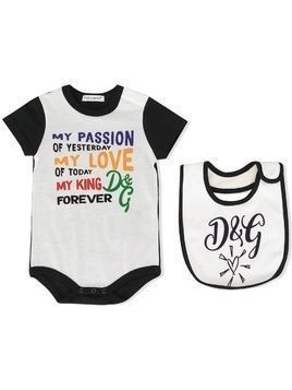Dolce & Gabbana Kids printed body and bib set - White