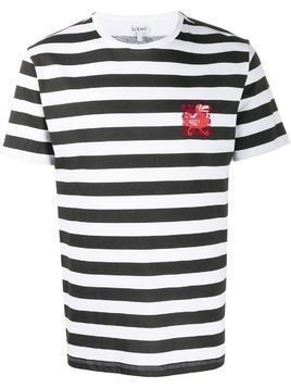 Loewe embroidered dodo striped T-shirt - White