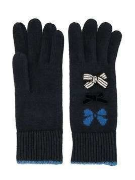 Familiar bow detail ribbed cuff gloves - Blue