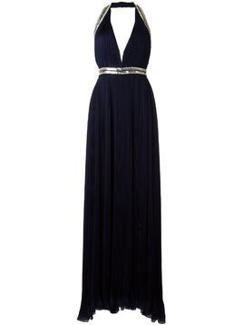 Roberto Cavalli embellished trim pleated gown - Blue