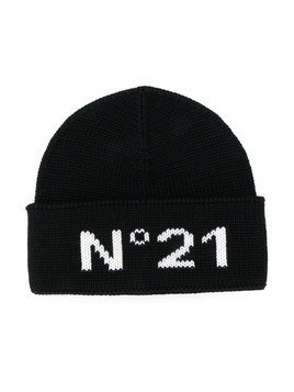 Nº21 Kids logo knit beanie hat - Black