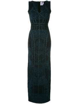 Hervé Léger shimmer long dress - Black