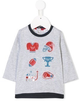 Emporio Armani Kids sports logo print top - Grey