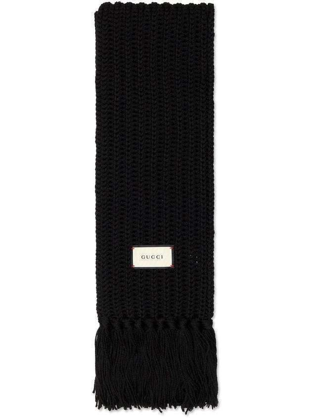 Gucci logo patch knitted wool scarf - Black