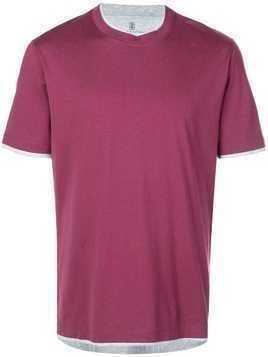 Brunello Cucinelli contrast trim T-shirt - Red