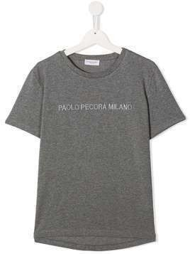 Paolo Pecora Kids TEEN logo print short-sleeved T-shirt - Grey