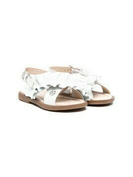 Florens ruffled-trim leather sandals - White