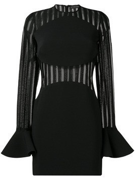 David Koma striped sheer panel dress - Black