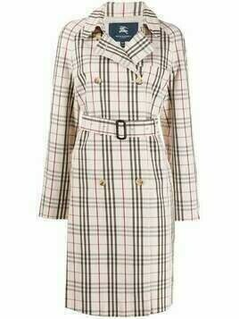 Burberry Pre-Owned 2000s tartan check belted trench coat - Blue