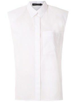 Andrea Marques structured shoulders sleeveless shirt - White