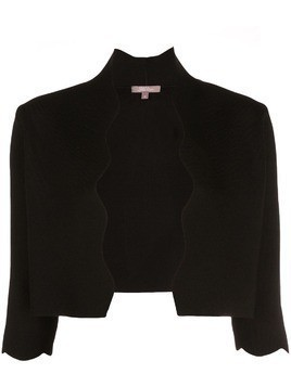 Lela Rose wavy trim cropped jacket - Black