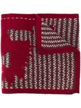 Pringle Of Scotland oversized knitted lion scarf - Red