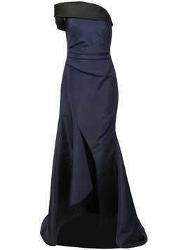 Oscar de la Renta one shoulder bicolour gown - Blue