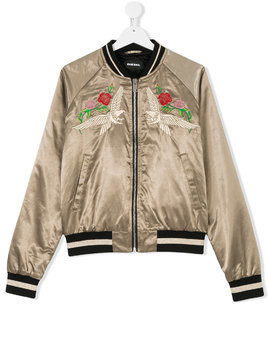Diesel Kids TEEN embroidered bomber jacket - Green