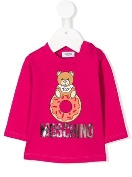 Moschino Kids Teddy logo long-sleeve top - Pink & Purple