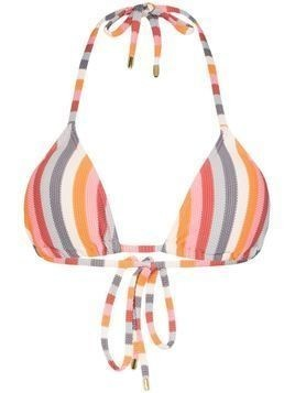 Peony rainbow stripe triangle bikini top - Blue
