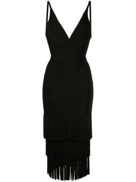 Hervé Léger triple tier fringe dress - Black